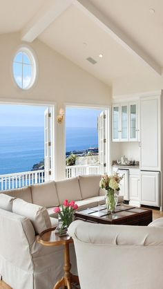 We Home Design — Beach house sitting room with a balcony and an. Coastal Living Rooms, Coastal Cottage, Coastal Homes, Beach Homes, Coastal Decor, Coastal Bedrooms, Coastal Style, Cottages By The Sea, Beach Cottages