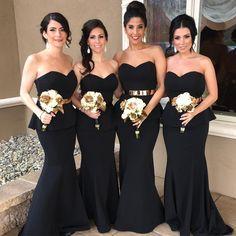 Black mermaid bridesmaid dresses with gold sash