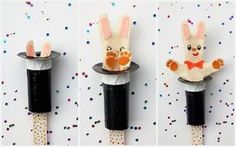 Pop-Up Magic Rabbit Puppet- Ramona would looove it Puppet Crafts, Hat Crafts, Craft Activities, Preschool Crafts, Circus Activities, Easy Crafts For Kids, Diy For Kids, Circus Crafts, Magic Crafts