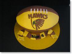 Hawthorn Football cake- love the football shape of this afl birthday cake.
