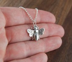 Large bee necklace in sterling silver, bee necklace, big bee, bee jewelry, honeybee, bee charm, bumble bee, sterling silver bee on Etsy, $34.00