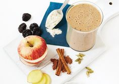 Spiced Apple Protein Shake: 1/2 small apple  1 tsp ground cinnamon  1/2 tsp minced fresh ginger  1/2 tsp ground cardamom  1 scoop vanilla whey protein powder  ice