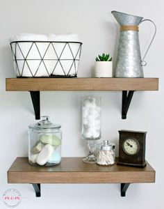 Farmhouse shelves with farmhouse decor ideas. Perfect for a fixer upper bathroom.