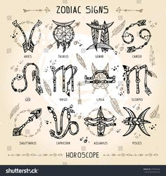 Set of hippie and bohemian style hand drawn zodiac signs. With decorative indian… Set of hippie and bohemian style hand drawn zodiac signs. With decorative indian and boho elements: arrows, feathers, indian ornament. Simbolos Tattoo, Body Art Tattoos, New Tattoos, Small Tattoos, Tattoo Arrow, Boho Tattoos, Bohemian Tattoo Ideas, Tattoo Feather, Tattoo Wolf