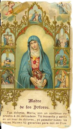 Vintage holy card depicting Mother of Sorrows