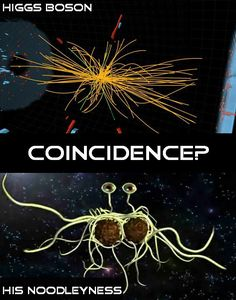 The Higgs Boson particle is shaped just like the Flying Spaghetti Monster. This is obviously scientific proof that the Flying Spaghetti Monster is the creator of all things. This is so inspirational. He truly does live!