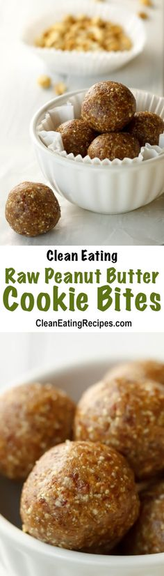 Clean Eating Raw Peanut Butter Cookie Bites Recipe (Copycat LaraBar Recipe) - I love that the only ingredients are peanuts, date and salt. They only take a few minutes to make and I love them for either breakfast, a snack or a quick, healthy dessert.