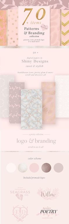 This huge collection of patterns and branding items for your logo design is feminine and includes marble patterns, premade logos and more. Affiliate Link $10