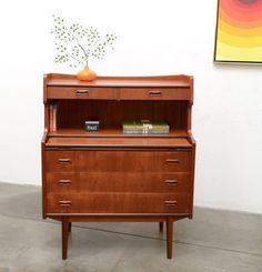 50s Danish Modern TEAK Secretary Desk Chest Office Credenza Vintage Mid Century #DanishModern