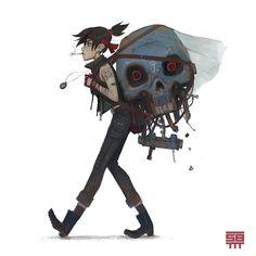 Post Apo girl 2 and 3, Serge Birault on ArtStation at https://www.artstation.com/artwork/1OQbq