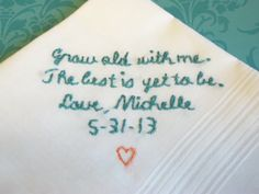 Bride to groom, wedding handkerchief, hand embroidered, teal color, wedding colors welcome, groom gift