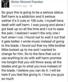 Self-Harm. Life Gets Better.  Vic my hero of my life that dude is awesome <333333