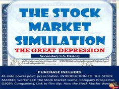 Stock Market Simulation Game (U.S. History) This is a great fun and interactive game to play with your secondary U.S. History students when studying the causes of the Great Depression.