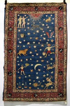 Persian 'zodiac' rug, probably Kerman area, Persia, e. 20th C. 6ft. 7in. X 4ft.