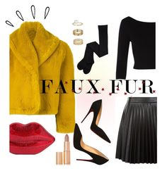 """#fauxfurcoat"" by andreachidisima ❤ liked on Polyvore featuring River Island, Jean-Paul Gaultier, Lulu Guinness, New Look, Christian Louboutin, Miss Selfridge, Charlotte Tilbury and Old Navy"