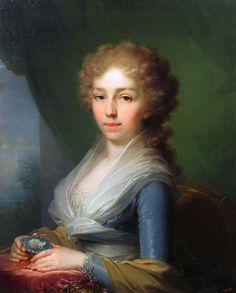 Oil Painting by Vladimir Borovikovskiy in 1795 of Tsaritsa Louise-Elizabeth Alexeyevna Romanova (24 Jan 1779-16 May 1826) Baden, Germany, wife of Tsar Alexander I Pavlovich Romanov (23 Dec 1777-1 Dec 1825) Russia. It was formerly known as a portrait of her sister-in-law Anna Fedorovna by Vigee-Lebrun. Location of painting in 2016 unknown.