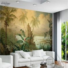 16.20$  Buy here - http://ali42e.shopchina.info/1/go.php?t=32796366527 - beibehang fresco European retro landscape oil painting tropical rain forest banana coconut tree wallpaper non-woven wallpaper  #magazineonlinewebsite