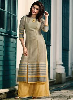 Print Rayon Party Wear Kurti in Grey