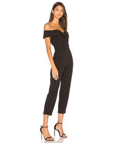 62a7636543f Bardot 6   Small Black Bella Jumpsuit Off Shoulder Pants Set Stretch  Embossed  Bardot