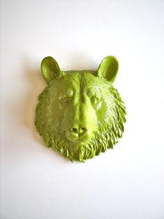 Faux Taxidermy Small Bear Head wall mount in by mahzerandvee, $30.00