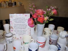 When a loved one has passed away leaving a collection of something it can be comforting to use that as a way to share pieces of them with all their friends  family.  Mugs, salt n pepper shakers, frogs....there are so many things people collect that make great mementos.