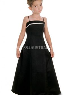 Cheap and Australia Black Spaghetti Straps Satin Floor Length Junior Bridesmaid Dresses by Alexia 6 from Dresses4Australia.com.au