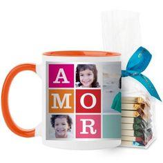 Amor Mug, Orange, with Ghirardelli Assorted Squares, 11 oz, Blue