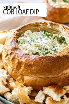 If youre looking for simple party snack ideas this easy Spinach Cob Loaf Dip has all the bases covered. With just 6 ingredients and 10 minutes in the kitchen everyone will be racing to get at this flavourful bread bowl dip. Cob Loaf Spinach Dip, Cob Loaf Dip, Bread Bowl Dip, Spinach Cheese Dip, Yummy Appetizers, Appetizers For Party, Appetizer Recipes, Dinner Recipes, Loaf Recipes
