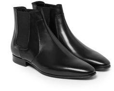$1,245, Black Leather Chelsea Boots: Saint Laurent Leather Chelsea Boots. Sold by MR PORTER. Click for more info: https://lookastic.com/men/shop_items/197697/redirect