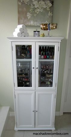 Great makeup storage idea.  Any kind of tall cabinet will do.