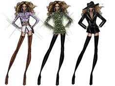 Beyonce stage costume design illustration  - ideas for Latin dance outfit - salsa bachata cha cha rumba samba