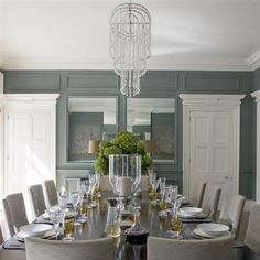 classic white & blue dining room