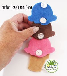 Button food is fun for kids to play with and they get to work on fine motor skills and practice buttoning at the same time. This item is a button ice cream cone. It comes with one cone and three scoop