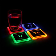 ThinkGeek :: Radioactive Elements Glowing Coaster Set