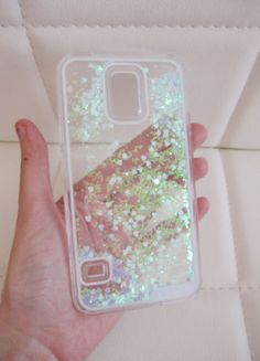 $9.98 Frozen Samsung Galaxy S6 case - clear glitter liquid with hipster blue and green aurora borealis heart and glitter iridescent geometric sequins floating in a waterfall quicksand liquid trendy phone case. US seller.
