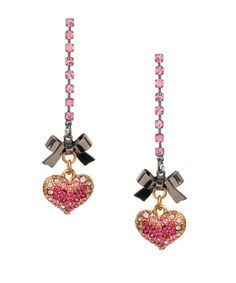 Pave Heart earrings - $45.00 at betseyjohnson.com