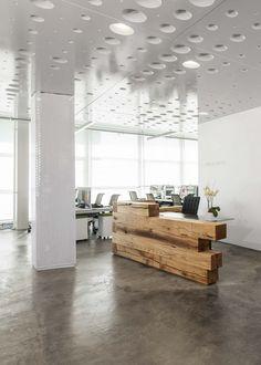 Entry Lounge:  reception desk concept and flooring (concrete)