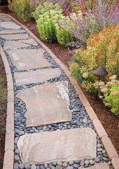 Stepping stone rock path in drought tolerant California garden Garden, ideas. - Stepping stone rock path in drought tolerant California garden Garden, ideas.