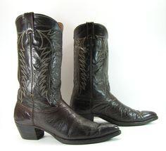 vintage cowboy boots mens 13 D brown justin by vintagecowboyboots