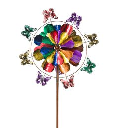 """5-Tier Flower and Butterfly Metal Wind Spinner • 7-feet tall • 4 tiers of 8-petaled metal """"flowers"""" in various sizes • Each """"flower"""" spins independently • Large outer ring features 8 laser-cut butterflies • Outer ring also spins!"""