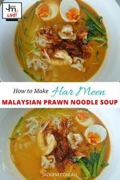 Jackie M shows how to make Har Meen aka Malaysian Prawn Noodle Soup straight from her LIVE Asian Kitchen broadcast on Twitch. Malaysian Recipes, Malaysian Food, Asian Street Food, Noodle Soup, Prawn, Soups And Stews, Thai Red Curry, Noodles, Cooking