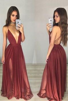 Long Custom Burgundy Spaghetti Straps Backless Sexy Evening Party Prom Gown Dresses.