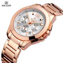 Luxury Megir Brand Watch Men Multifunction Business 3 Diall Waterproof Date Women Watch Full Steel Fashion Lover's Quartz Watch(China (Mainland))