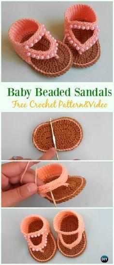 Crochet Beaded Baby Sandals Free Pattern & Video - #Crochet; Baby #Sandals; Free Patterns
