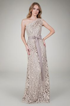 Embroidered Lace One Shoulder Gown in Sand | Tadashi Shoji