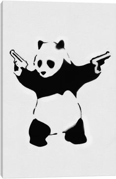 Panda With Guns by Banksy Canvas Artwork