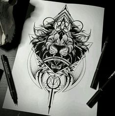 Pen and ink. Geometric. Lion