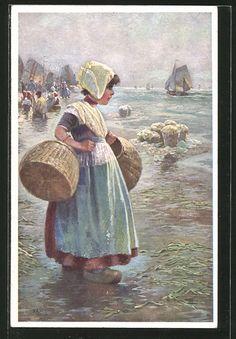 carte postale ancienne: CPA Illustrateur Rud.A. Höger: Fille trägt Körbe et schaut auf das Meer hinaus