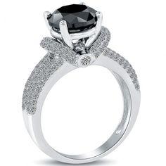 3.94 Carat Certified Natural Black Diamond Engagement Ring 14k White Gold