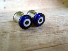Pair of Blue Evil Eye Bead Plugs - Girly Gauges - Handmade by WhimsyByKrista on Etsy, $20.00 Available in sizes 6g, 4g, 2g, 0g, 00g or as post earrings
